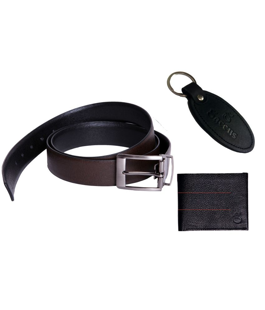 Saccus Imported Black Leather Belt With Black Wallet And Keychain