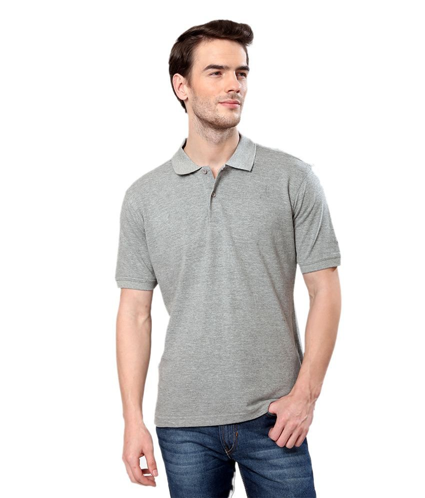 United Colors of Benetton Gray Cotton Polo T-shirt
