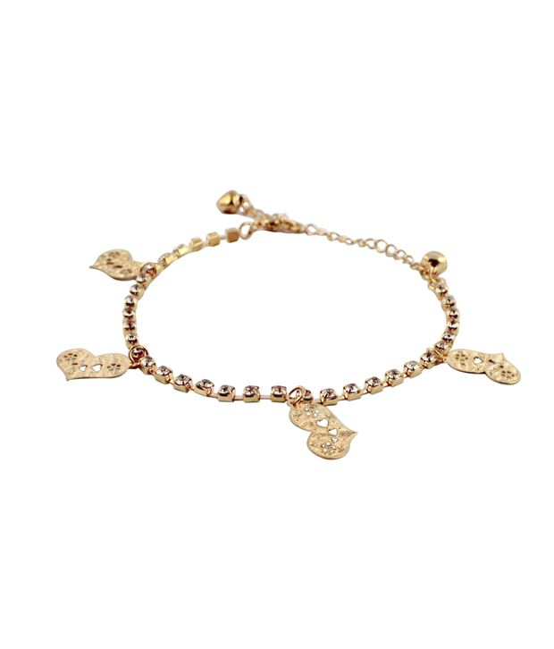 Wise Pebbles Golden heart and Stones Anklet for Women