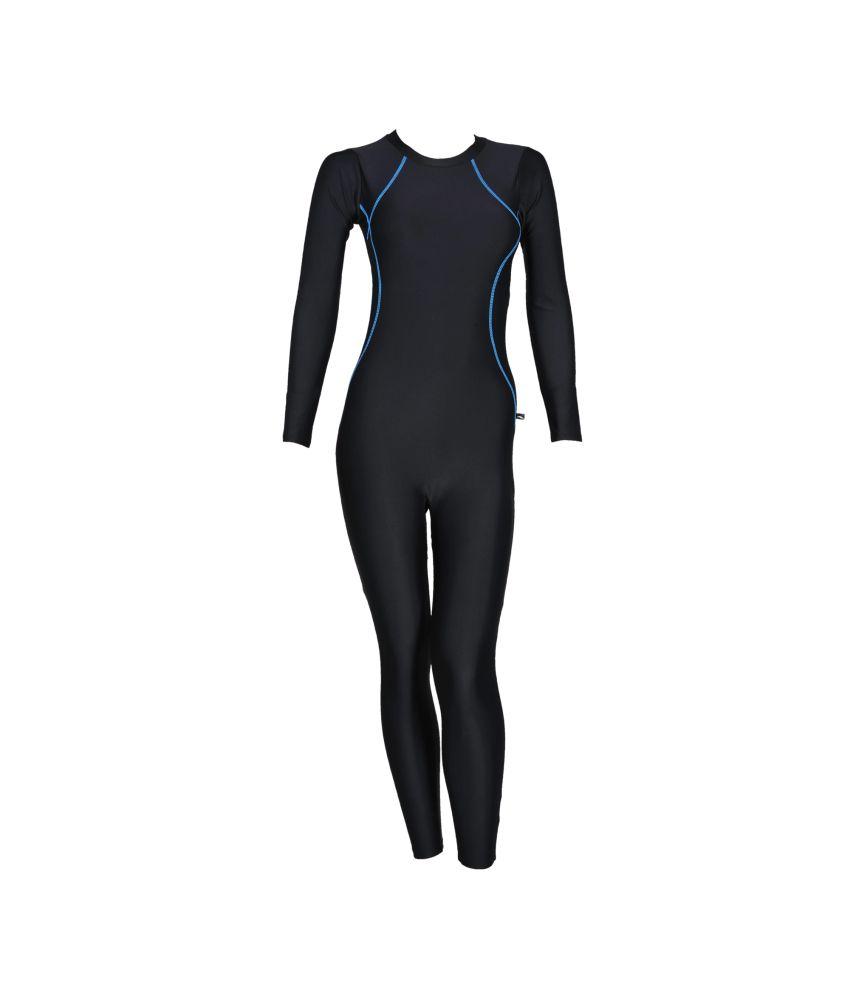 Champ Black & Blue Full-Length Swimwear for Women/ Swimming Costume