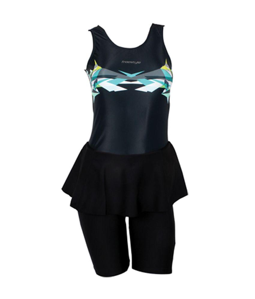 Freestyle Padded Black & Blue Swimwear for Womens/ Swimming Costume