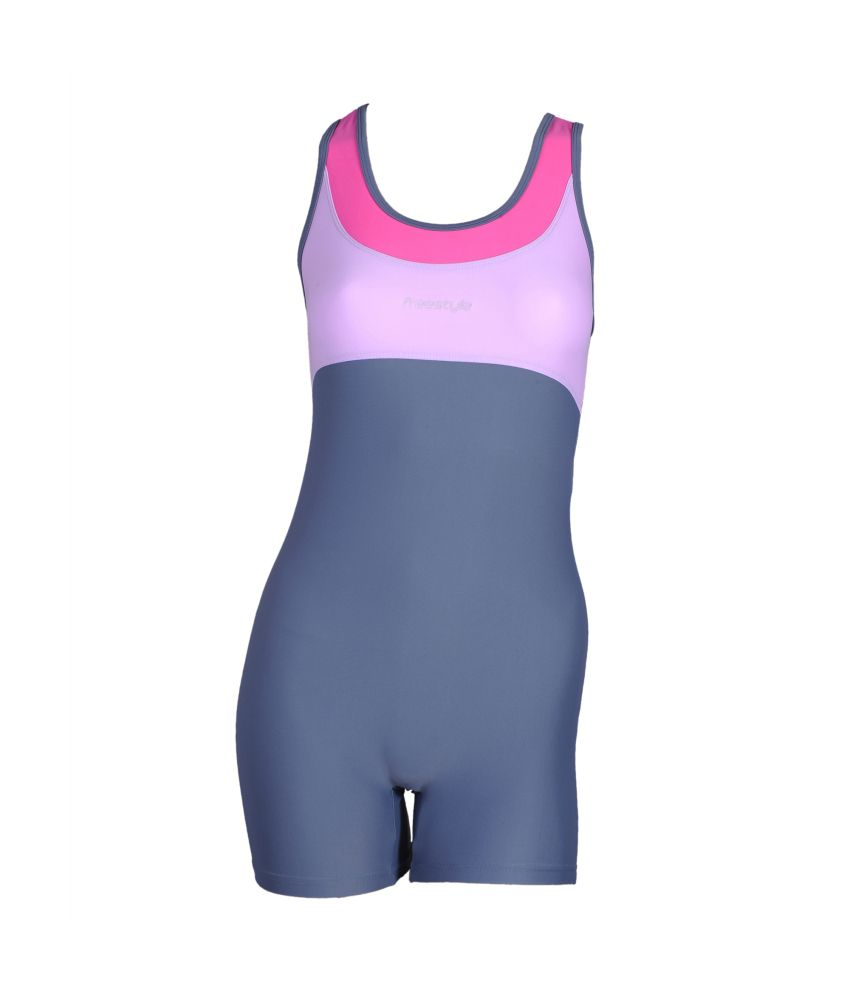 Freestyle Womens Swimwear Half Legsuit With Pad Provision/ Swimming Costume