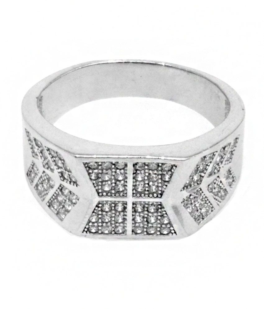 Jewel Craft Contemporary Silver Cubic Zirconia Ring