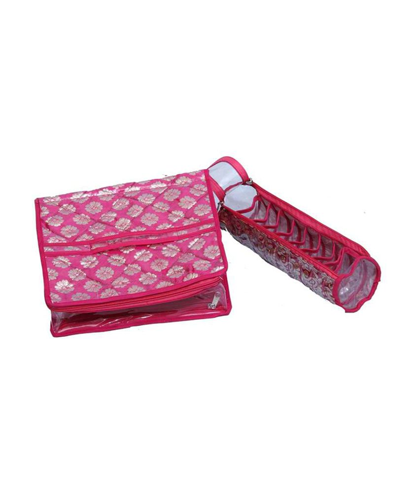 Kuber Industries Make Up Kit & Single Bangle Box In Brocade - Combo Of 2
