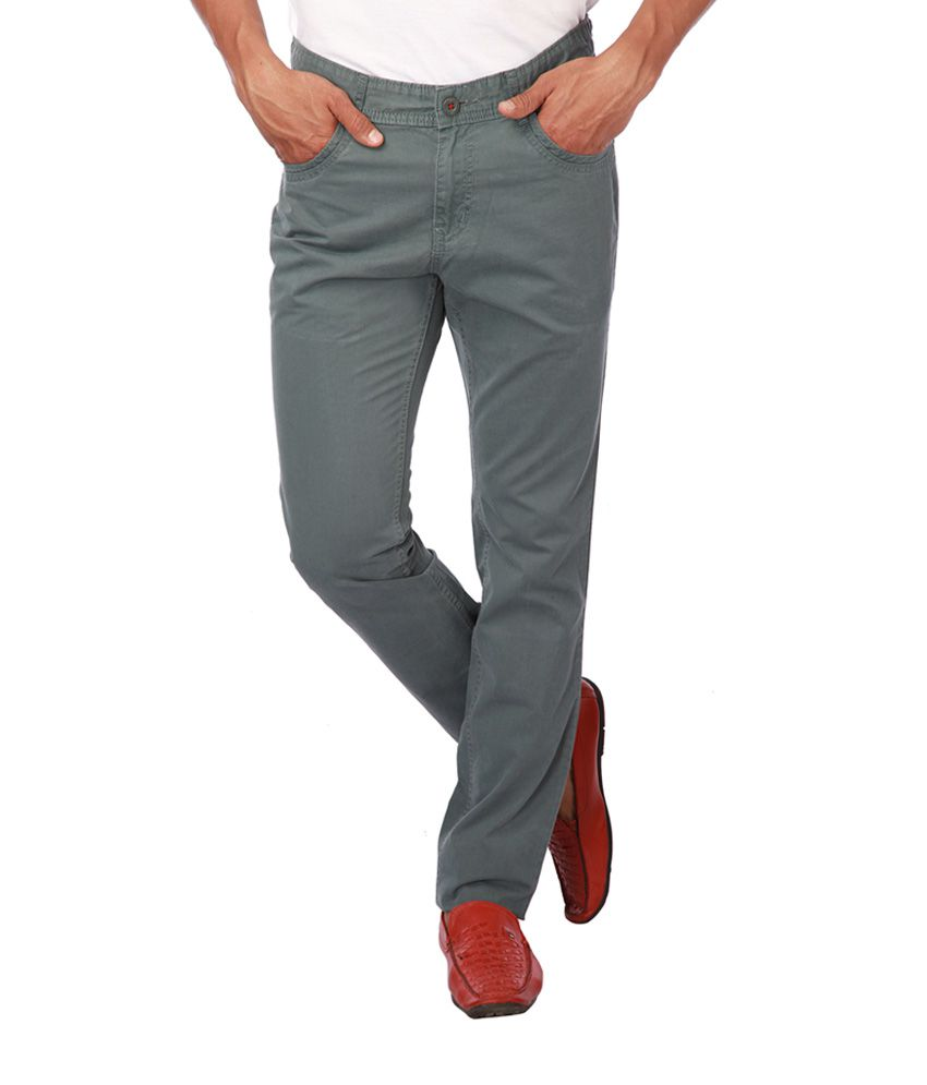 Life by Shoppers Stop Gray Cotton Regular Fit Chinos