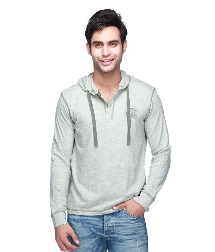 Mario Zegnoti by Shoppers Stop Gray Cotton Hooded T-Shirt