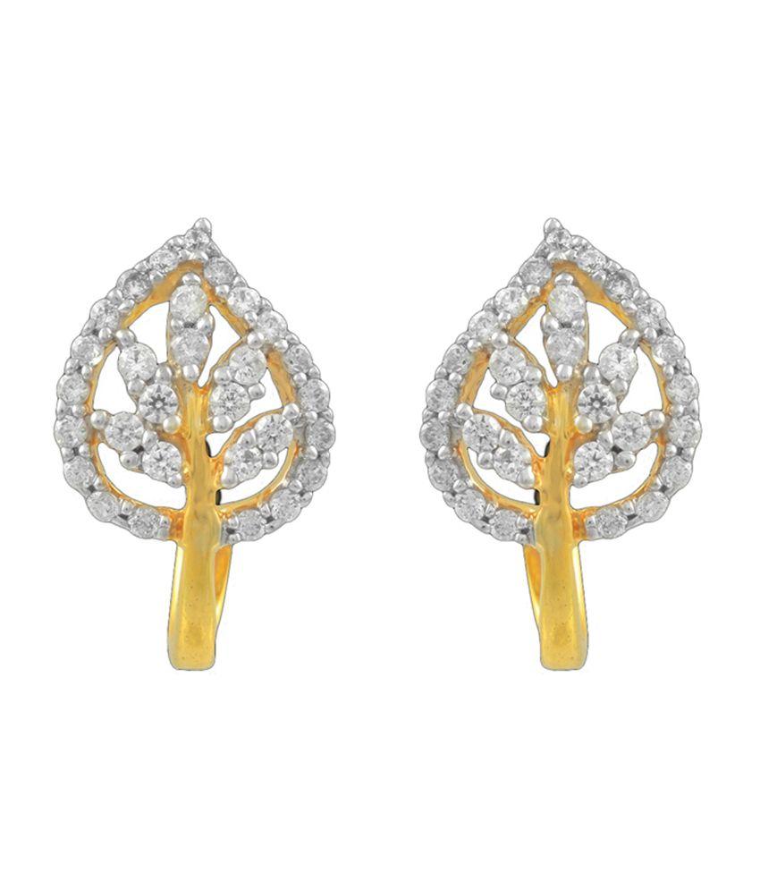 P.N.Gadgil Jewellers Charisma Leaf Diamond Earrings