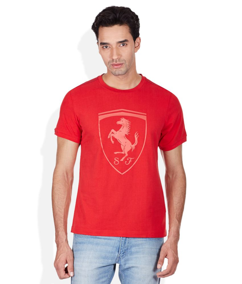 Puma Red Printed Round Neck T-Shirt