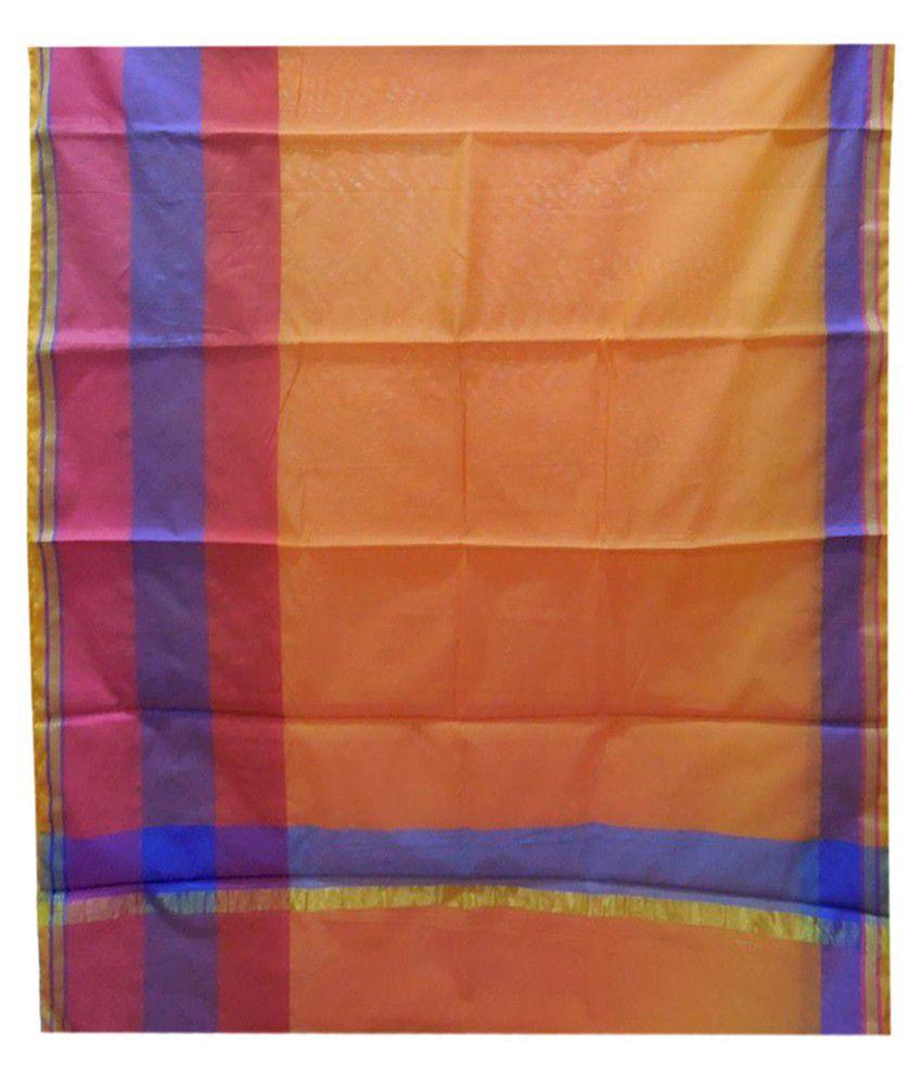Silk Universe Orange Cotton Silk Saree