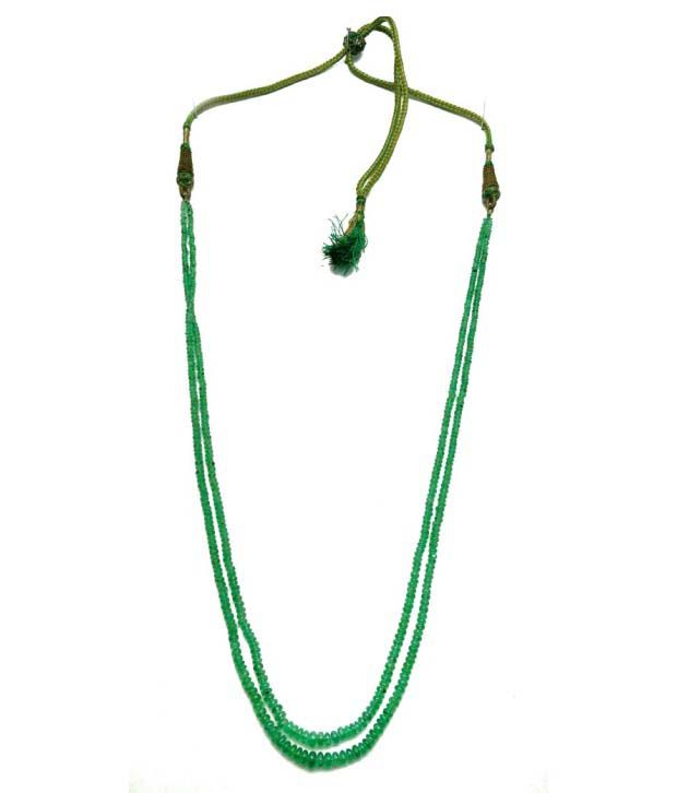 Tanishi Rare Natural Emerald Plain Round Double Line Beads Necklace