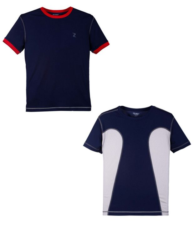 Zobello Navy Polyester T-shirts (Combo Of 2)