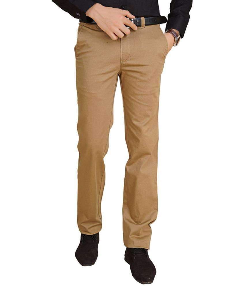 Abstract Beige Cotton Comfort Fit Casual Trouser