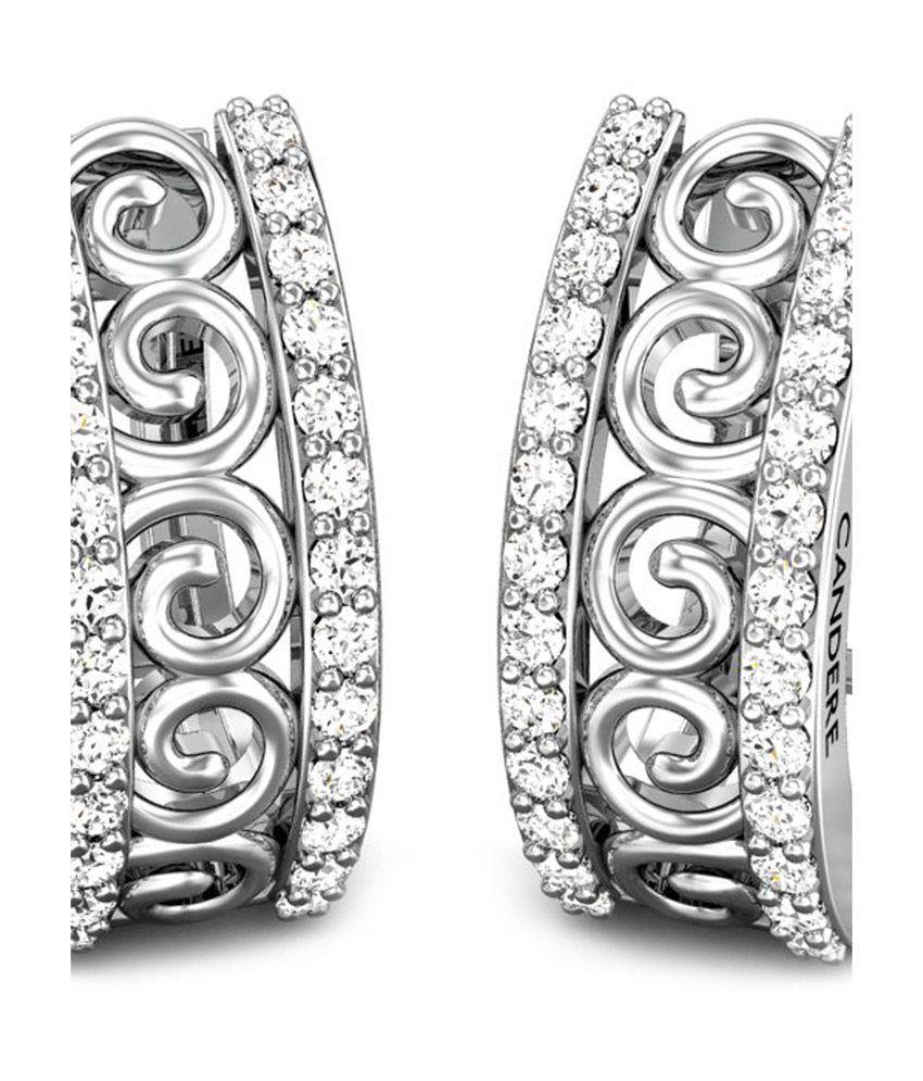 Candere Zaira Diamond Earrings White Gold 18K