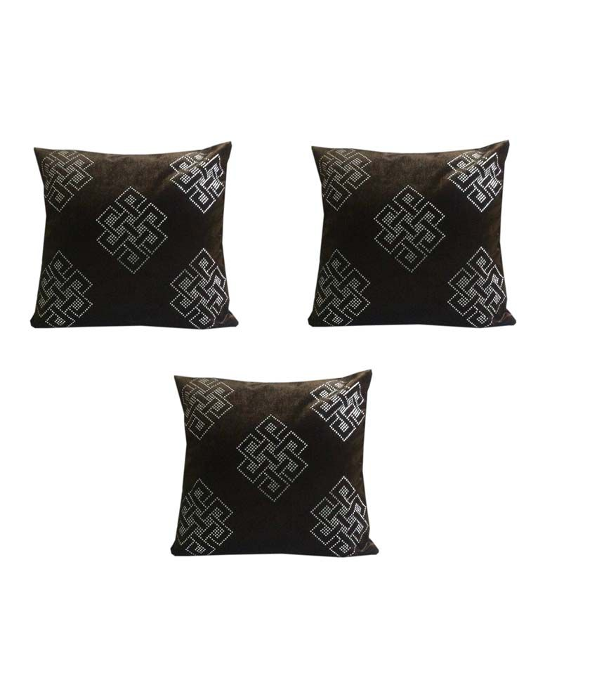 Manan decor black velvet cushion cover 16x16 inches for Snapdeal products home kitchen decorations