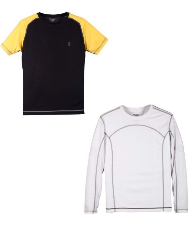 Zobello Black And White Polyester T-shirts (Combo Of 2)