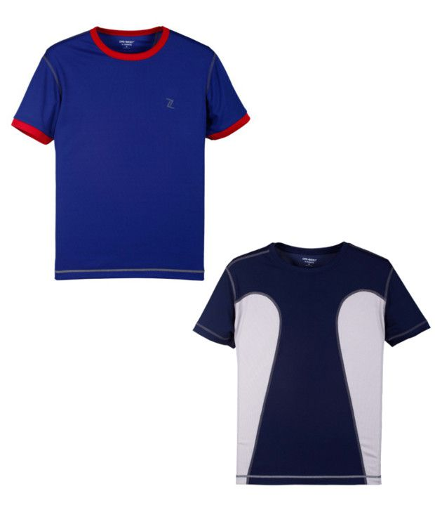 Zobello Blue And Navy Polyester T-shirts (Combo Of 2)