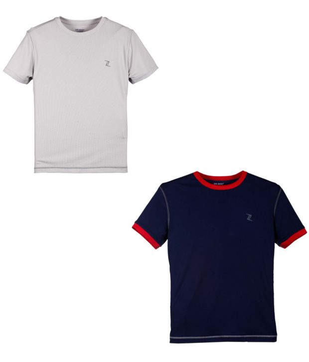 Zobello Navy And Gray Polyester T-shirts (Combo Of 2)