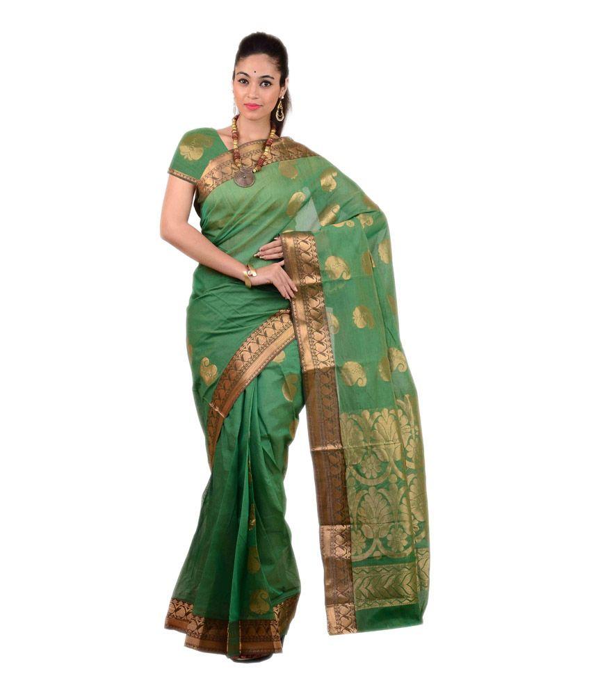 Anusha Green Cotton Saree