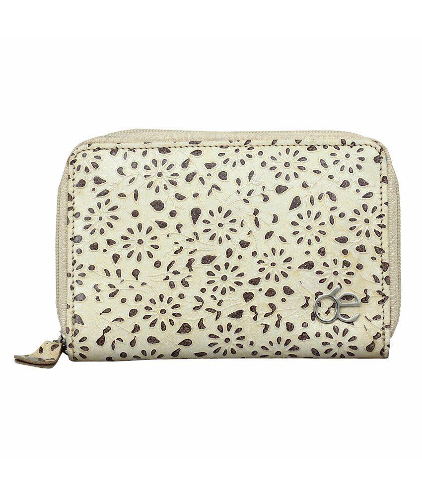 Endiano Beige Leather Regular Wallet for Women