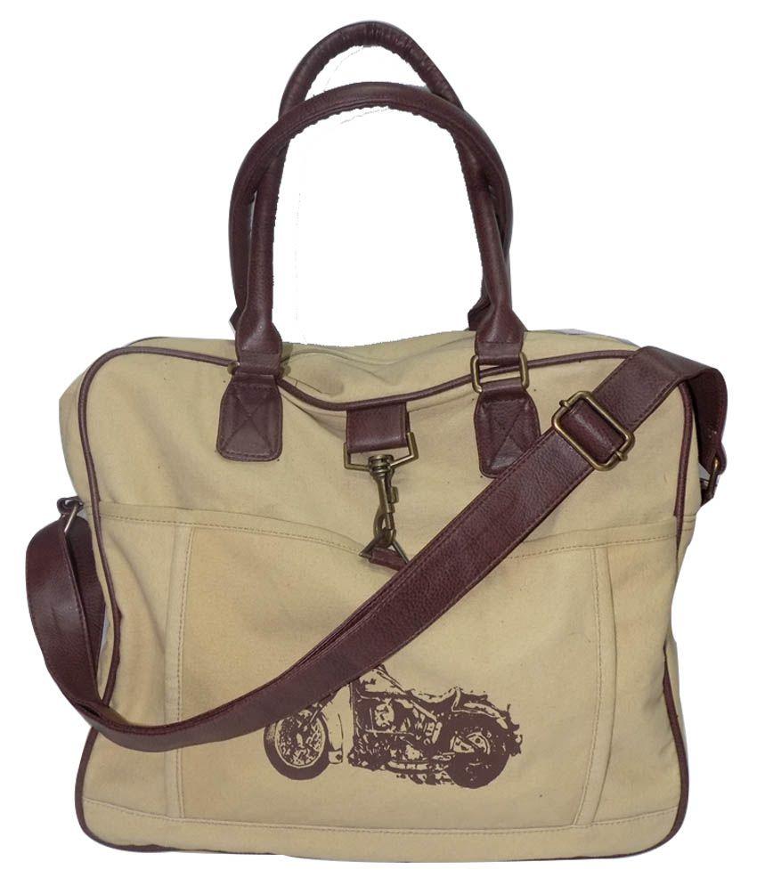 House Of Pari Beige Shoulder Bag