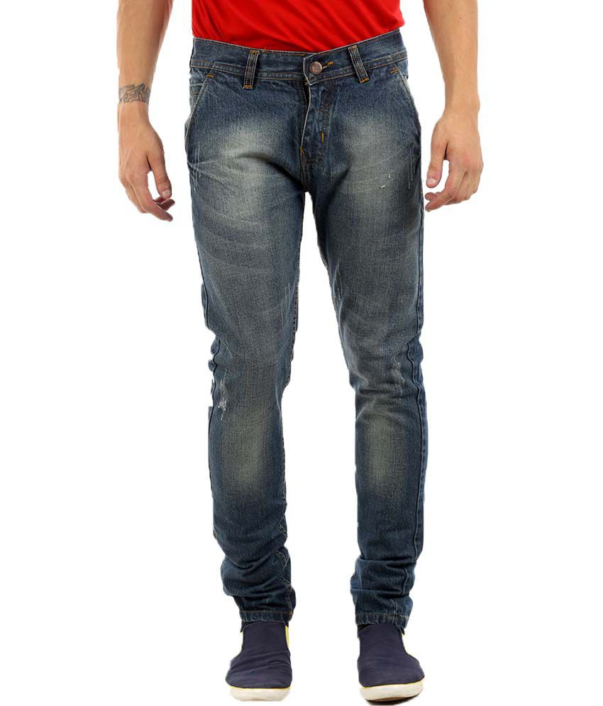 K-SAN Blue Cotton Blend Slim Faded Jeans