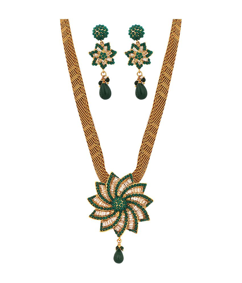 Khushi Gold Plated Ruby Stone Elegant Necklace Set