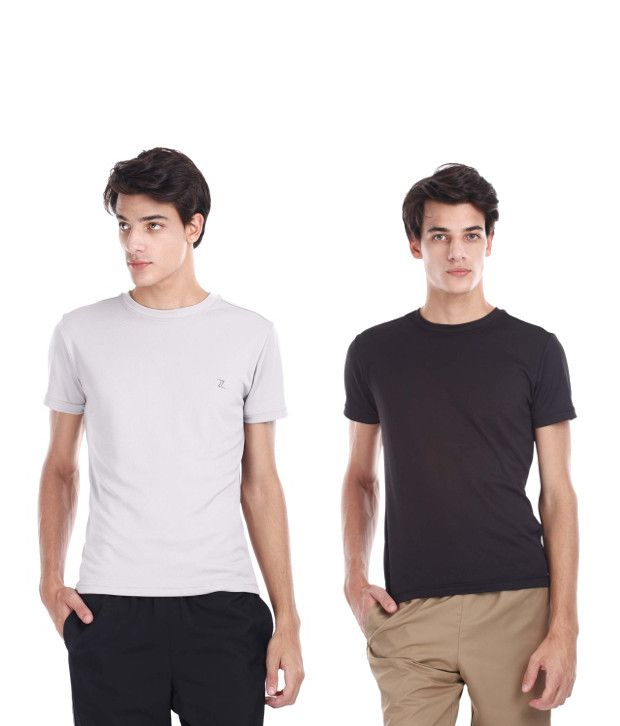 Zobello Gray And Black Polyester T-shirts (Combo Of 2)