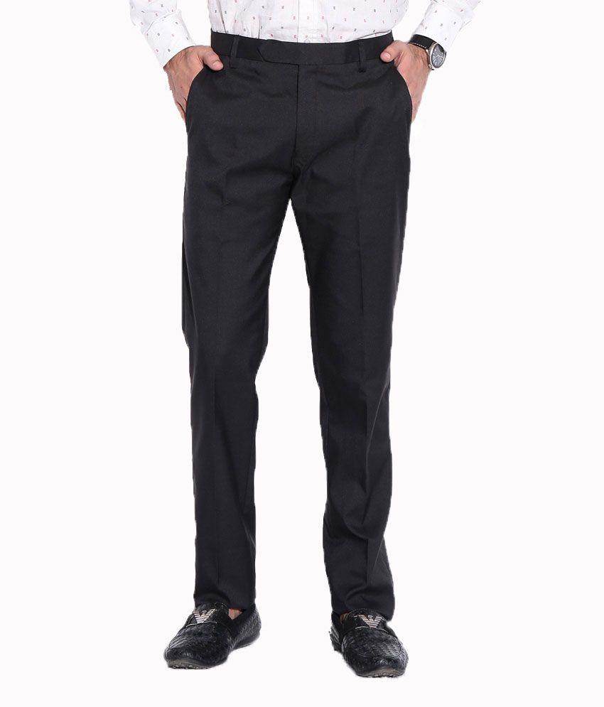 American-Elm Black Cotton Blend Slim Fit Formal Trouser