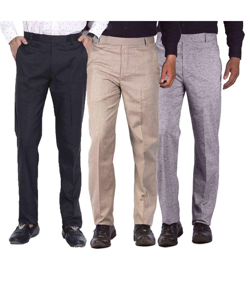 American-Elm Multicolour Cotton Blend Slim Fit Formal Trouser - Combo Of 3