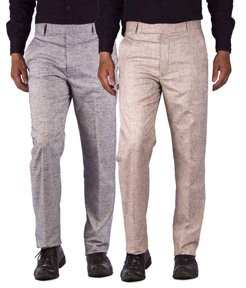 American-Elm Multicolour Cotton Blend Slim Fit Formal Trouser - Combo Of 2