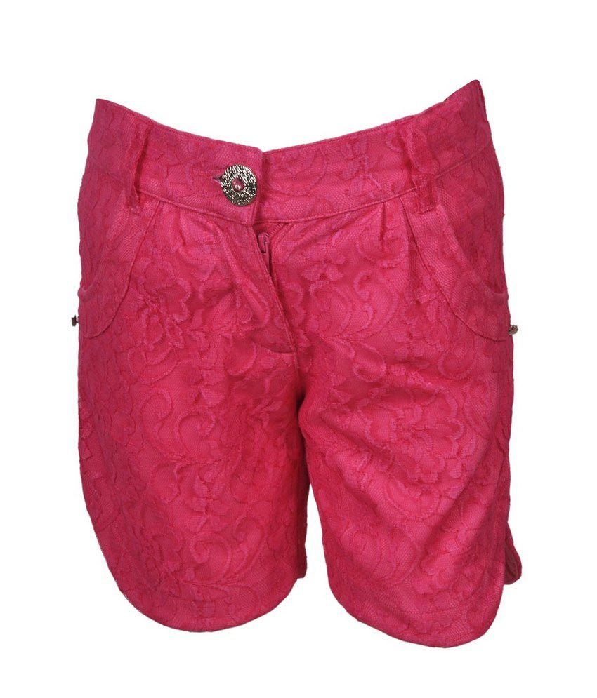 Cool Quotient Fuchsia  Lace Shorts For Kids