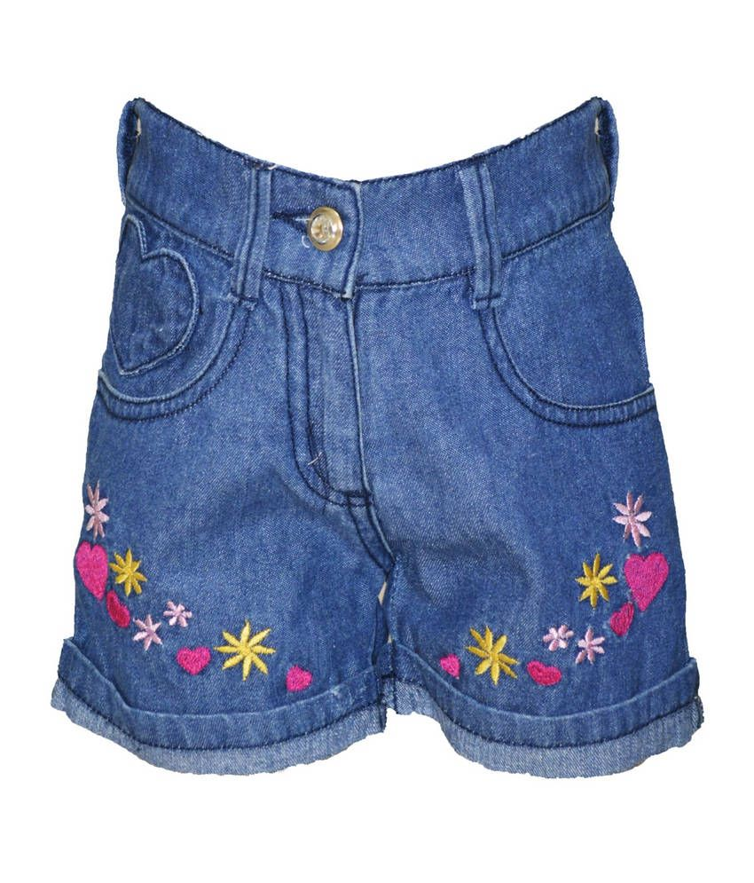 Cool Quotient Ice Blue  Dnm Front Emb Shorts For Kids
