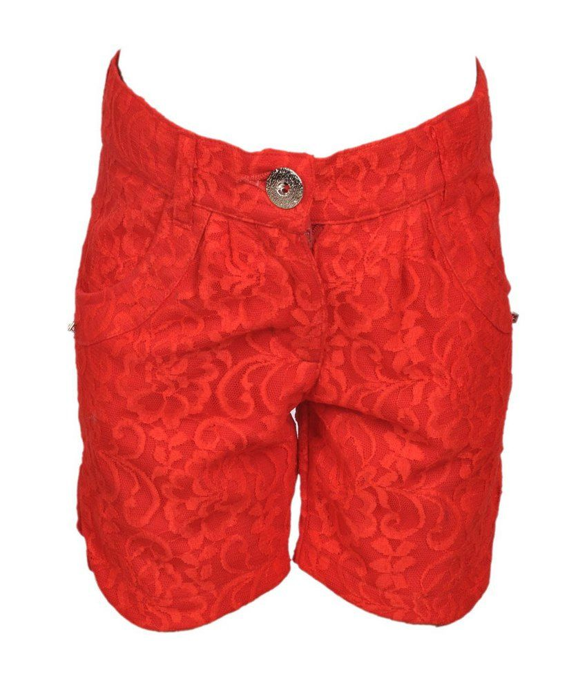 Cool Quotient Red  Lace Shorts For Kids