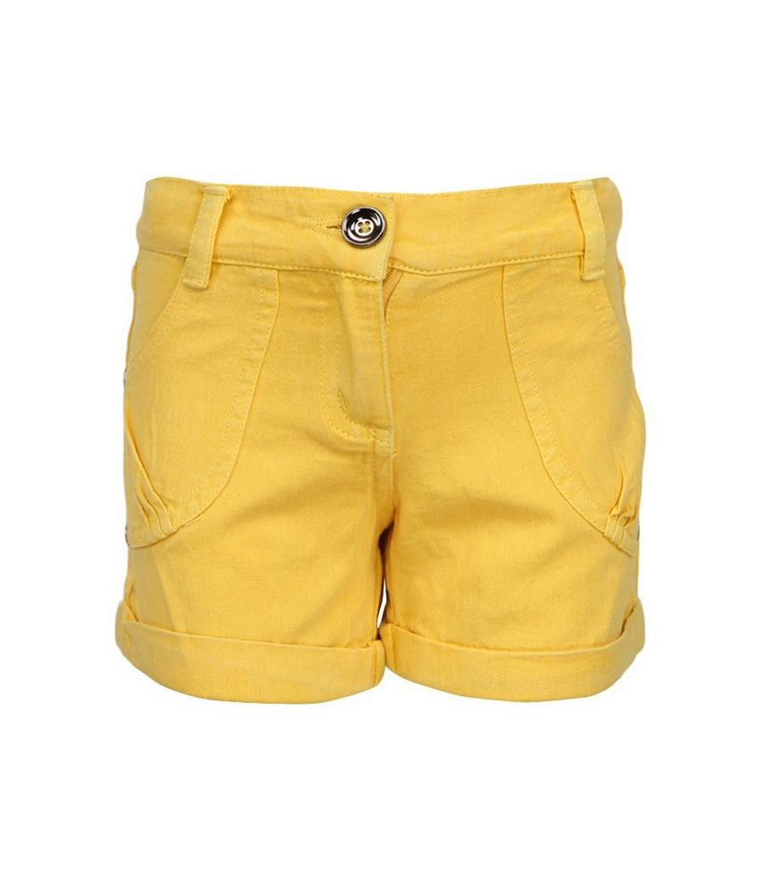 Cool Quotient Yellow  Twill Shorts For Kids