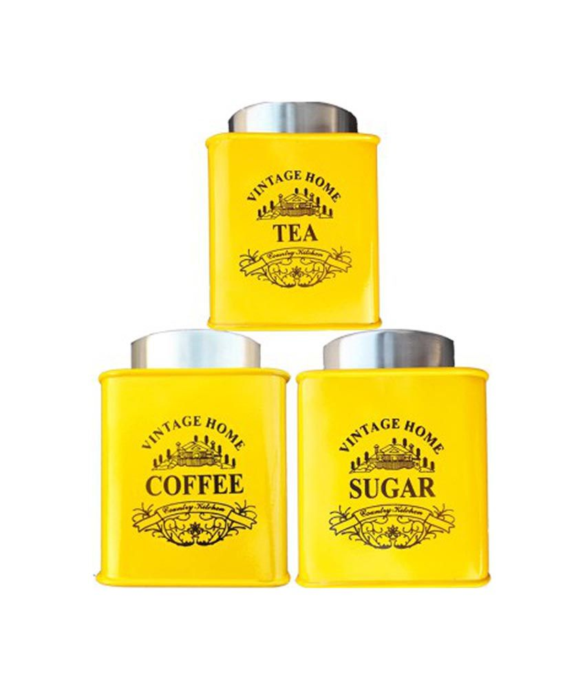 Thw Yellow Designer Vintage Style Tea Coffee Sugar Canister