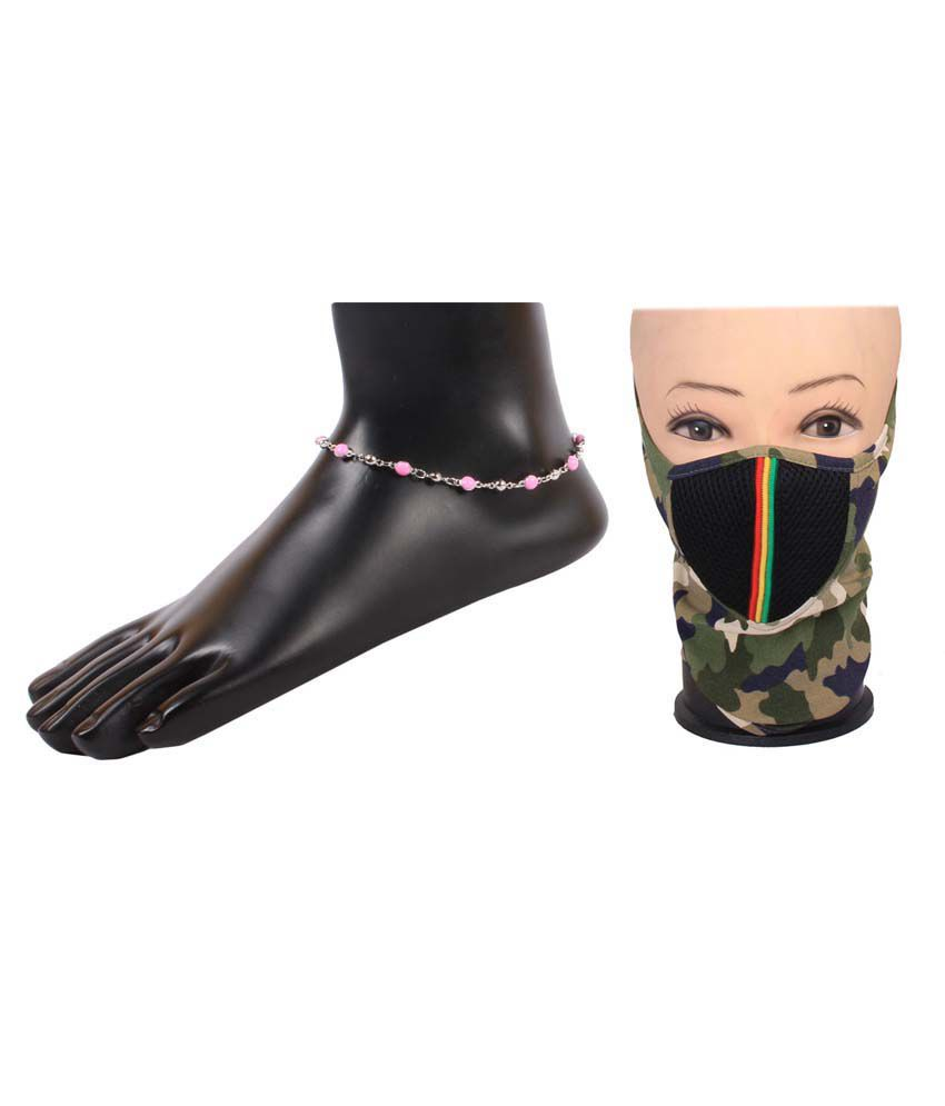Jstarmart Silver Alloy Pair Of Anklets With Face Mask