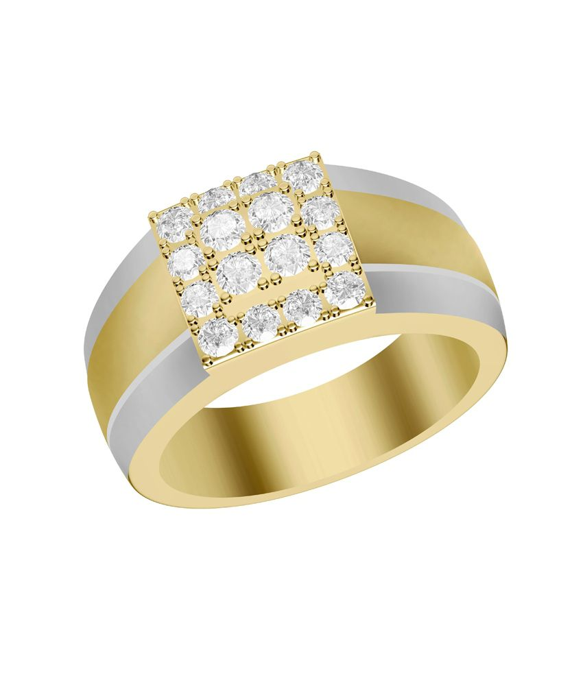 Shish Jewels Round Cz Stud Yellow And White Rhodium Plated 925 Sterling Silve Ring