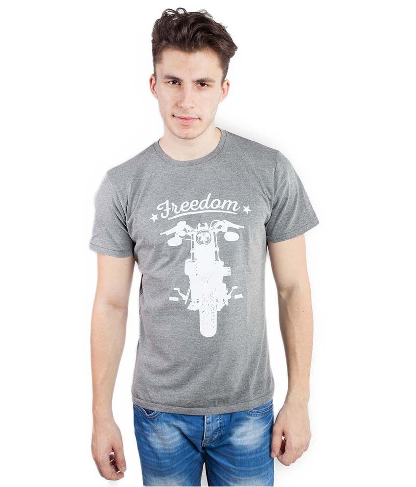 Tomo Gray Cotton Printed Round Neck T-Shirt