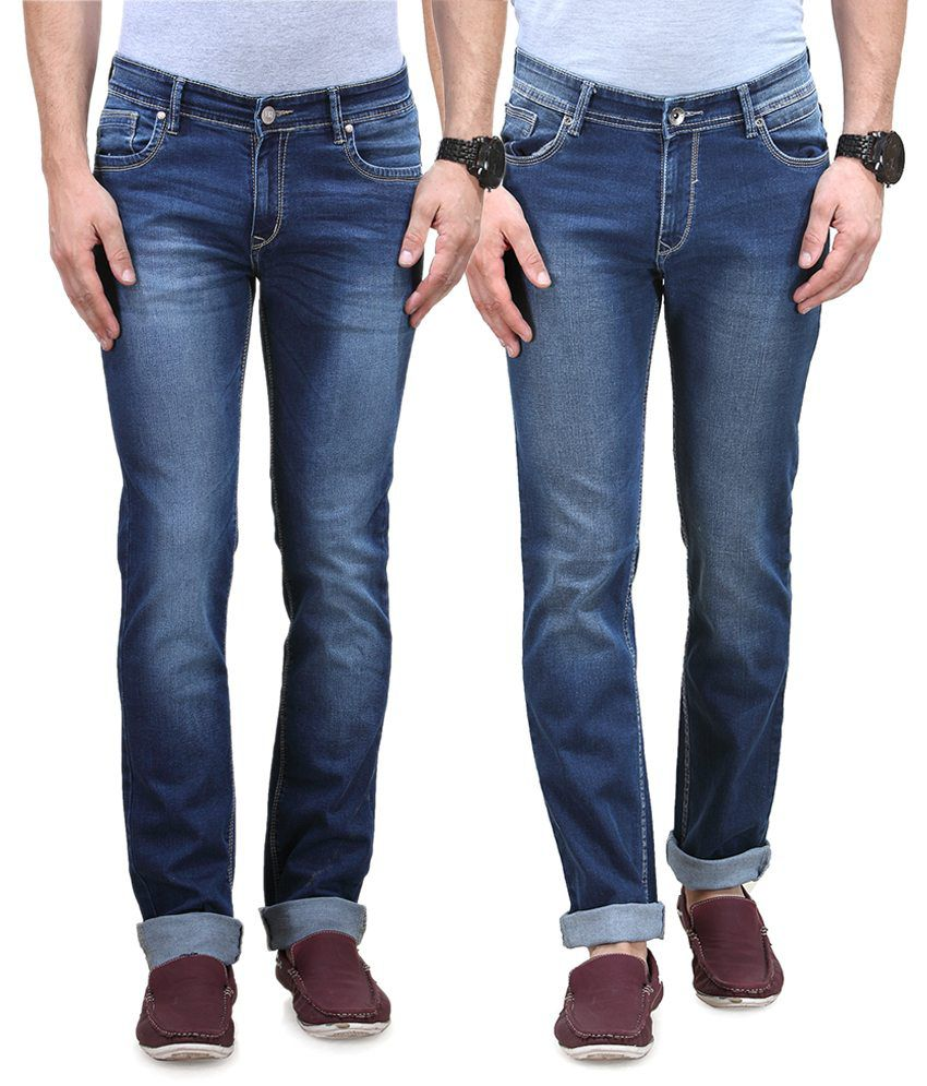 Vintage Blue Jeanswear Cotton Straight Fit Jeans - Pack Of 2
