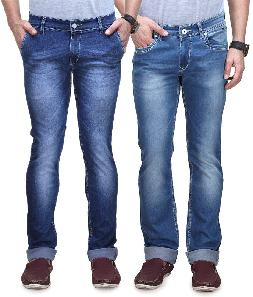 Vintage Blue Jeanswear Cotton Tapered Fit Jeans - Pack Of 2