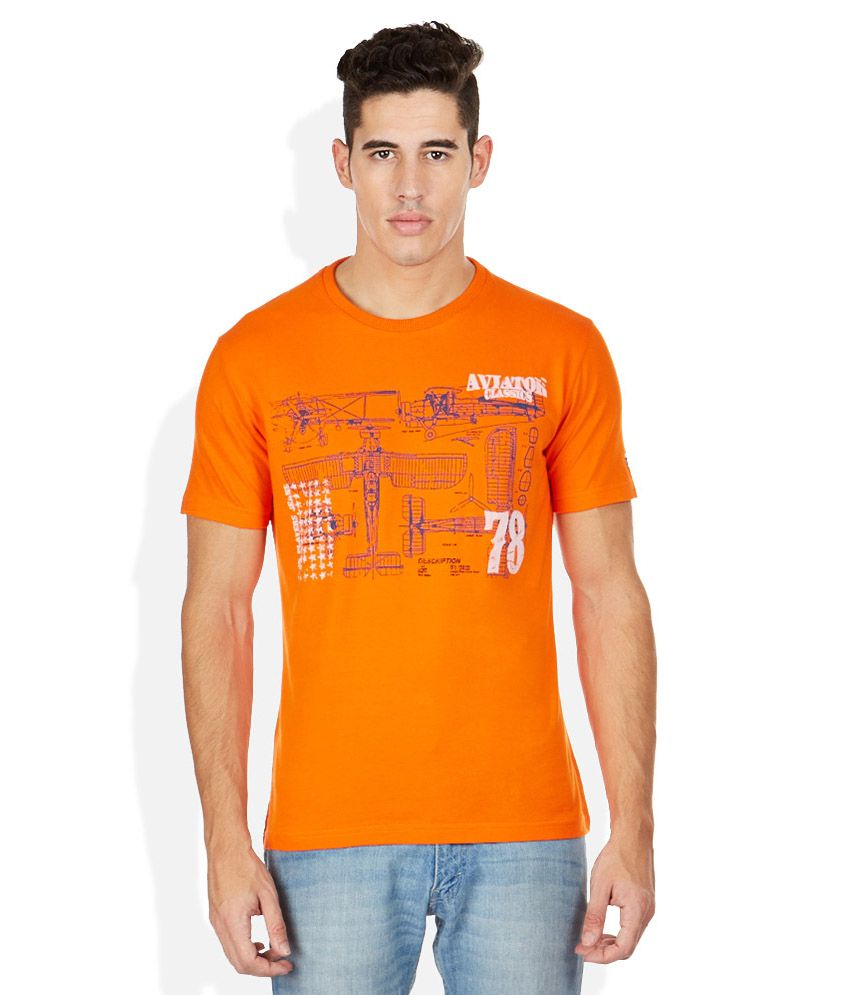 John Players Orange Round Neck T Shirt