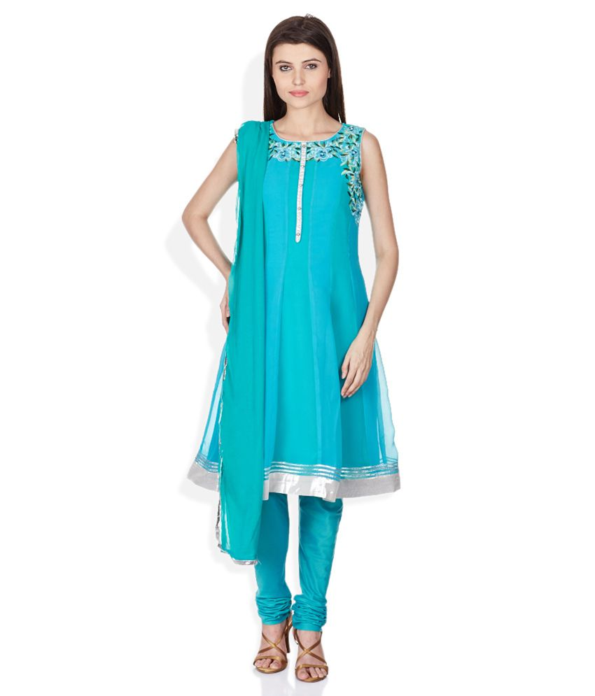 Gili Turquoise Stitched Salwar Suit With Dupatta