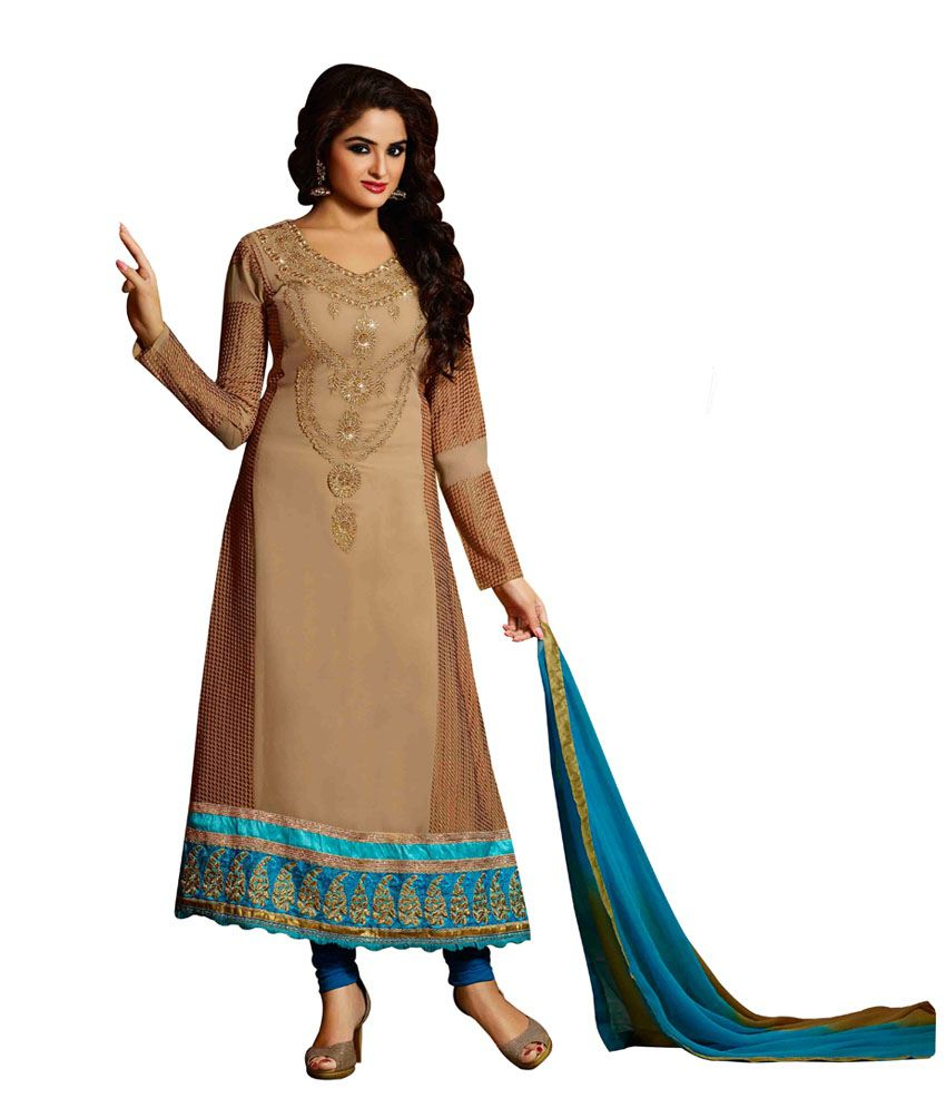 JK Creation Beige Faux Georgette Stitched Suit