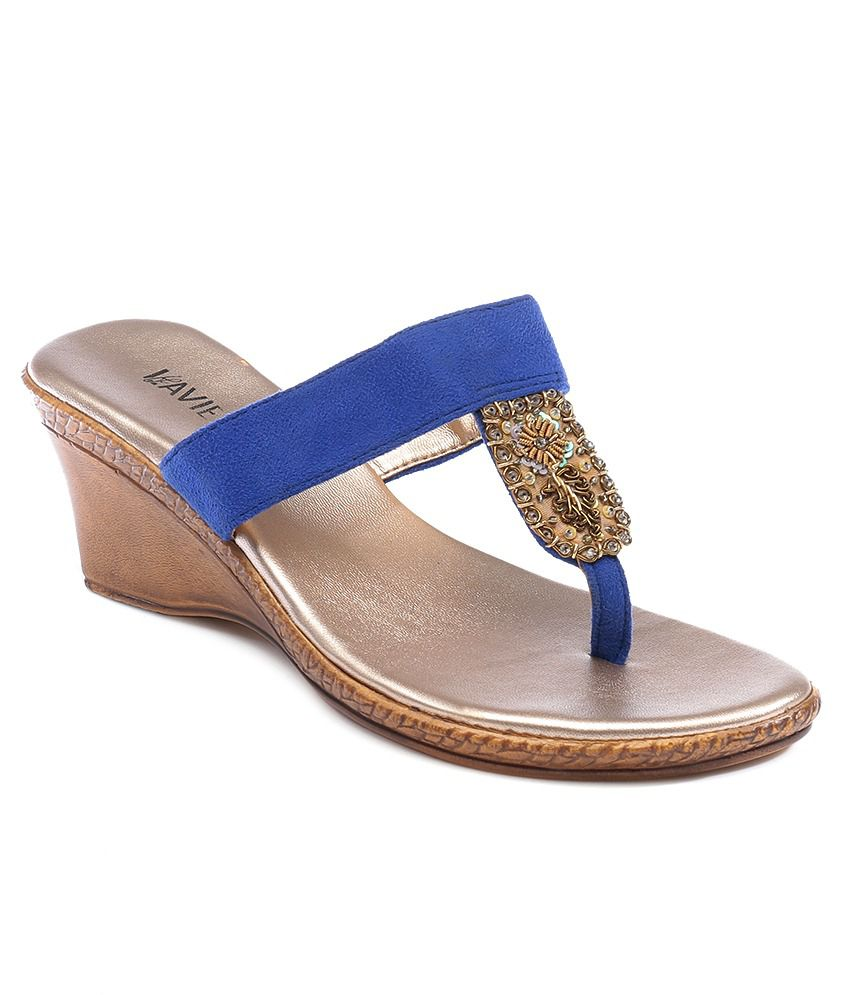Lavie Blue Wedge Heeled Sandals