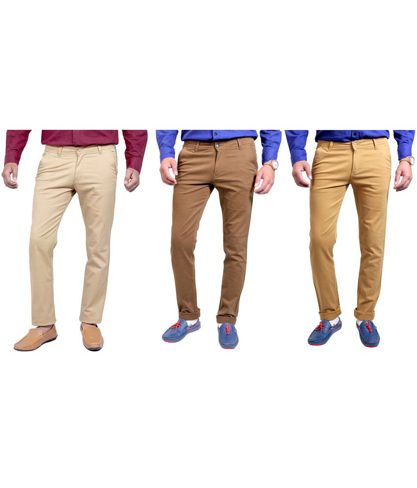 Routeen Cotton Lycra Slim Fit Stretchable Casual Chinos Trousers (pack of 3)