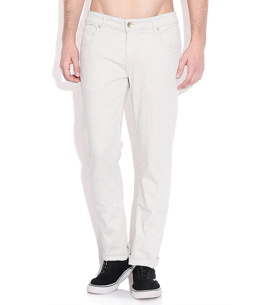 United Colors of Benetton Off White Skinny Fit Casual Trousers