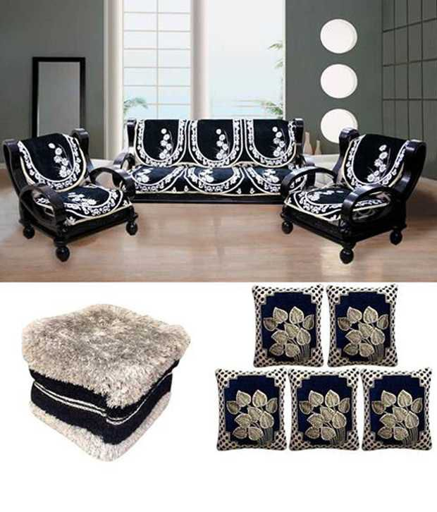 Fk White And Black Fl Sofa Cover With Cushion Covers Fur Stool