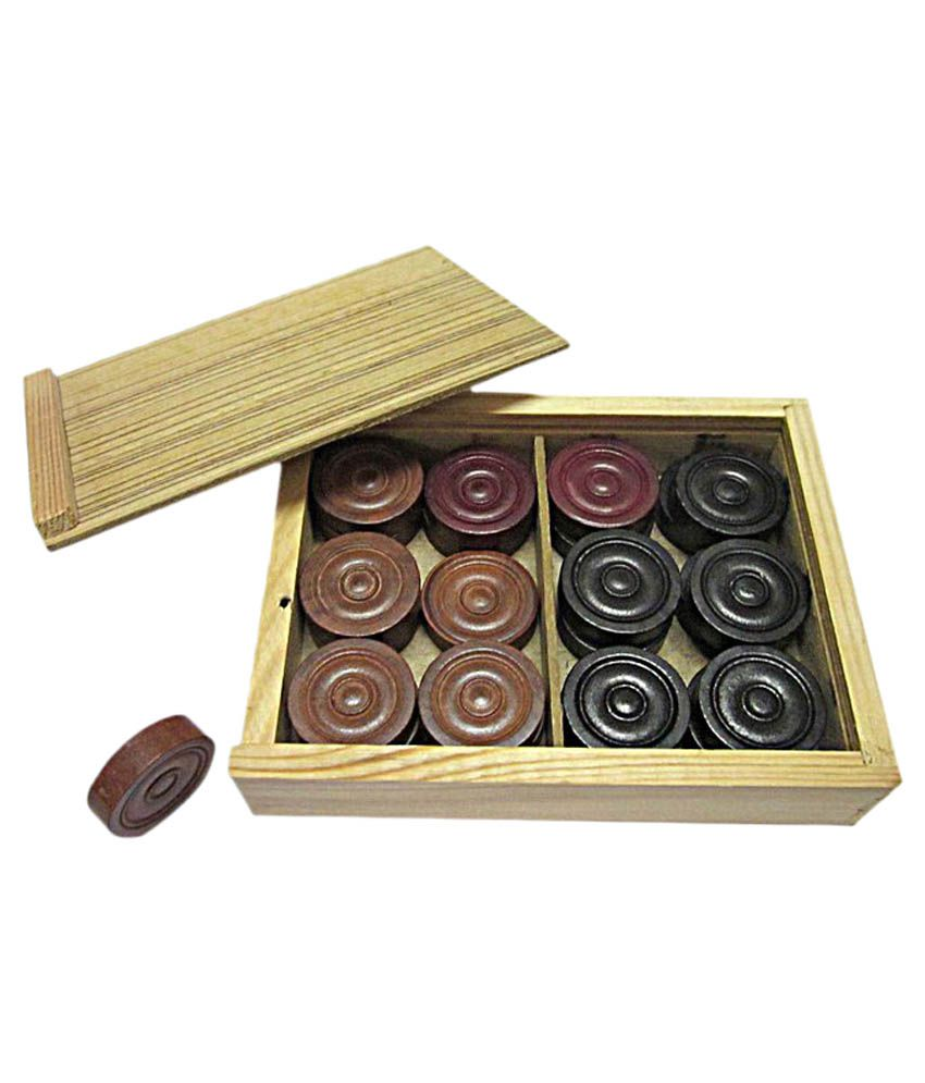 V.T. Carrom Coins with Wooden Box Pack
