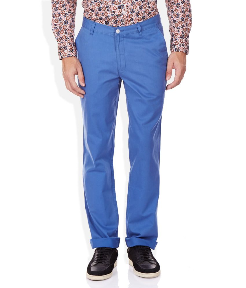 John Players Blue Slim Fit Casual Trousers