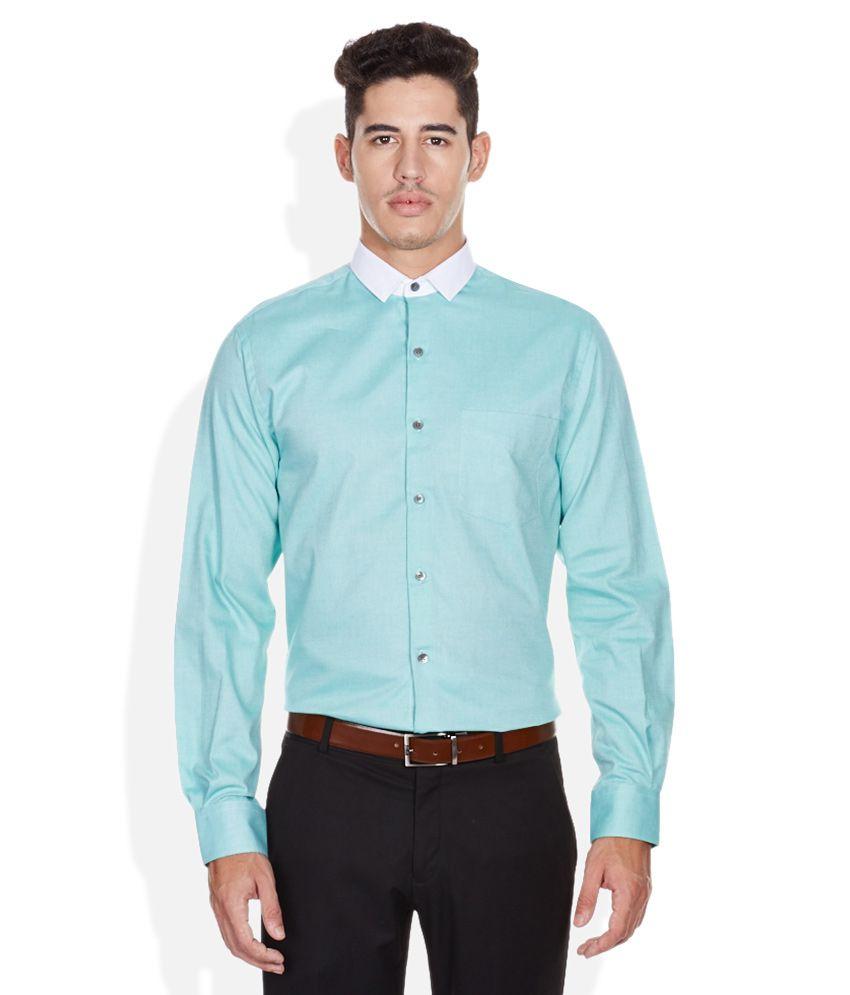 John players green slim fit formal shirt buy john for Trim fit tuxedo shirt